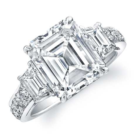 Rahaminov emerald-cut diamond platinum ring
