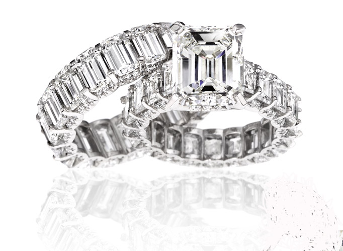 Diamond and platinum rings from Katerina Maxine