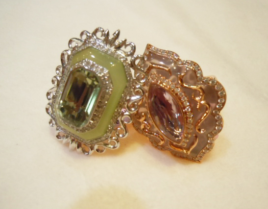 Amethyst, quartz, and agate rings from Sophia by Design