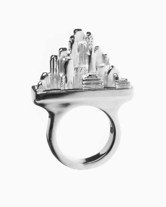 Little Rooms Cityscape Ring in silver