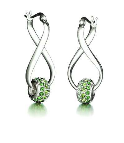 Swarovski/Chamilia co-branded crystal bead earrings in silver