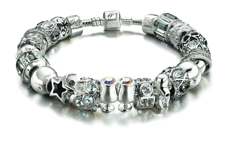 Swarovski/Chamilia co-branded crystal bead bracelet in silver