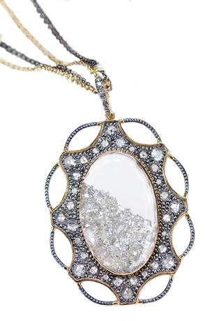 Moritz Glik Mirror pendant necklace in gold, silver, and diamonds