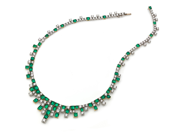 emerald and diamond necklace from Richard Krementz Gemstones
