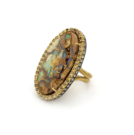 Boulder opal and gold ring from Meus Designs