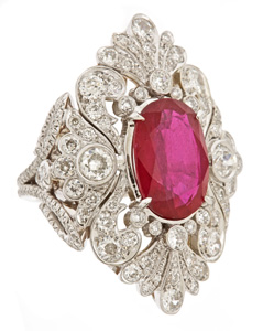 Katerina Maxine Victorian Scroll ring with a ruby center