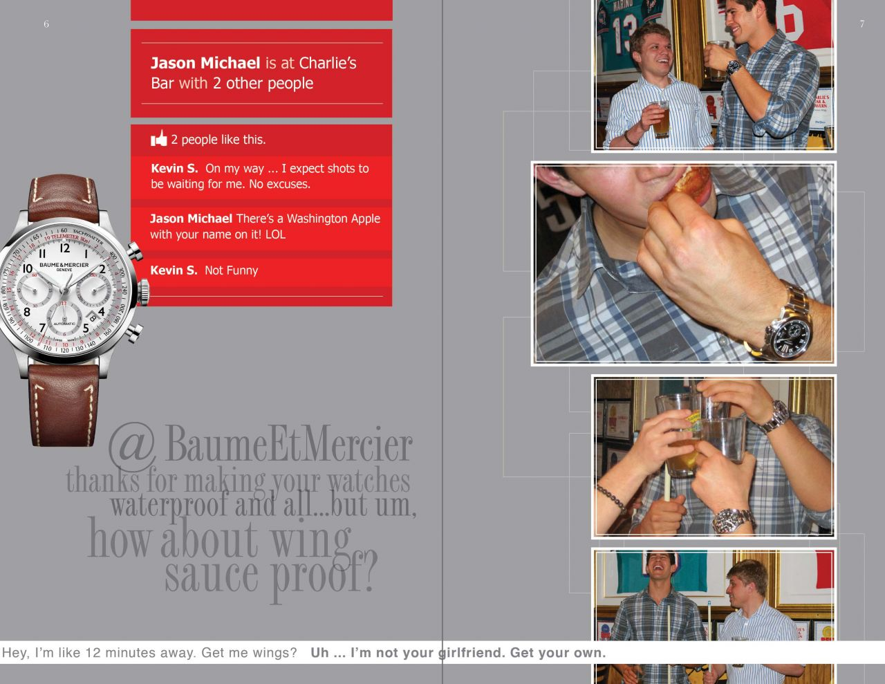 Baume & Mercier product shots get a nice play in this layout with Jason and some friends