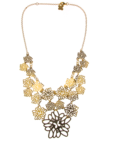 Tanya Moss bib necklace in gold-plated silver