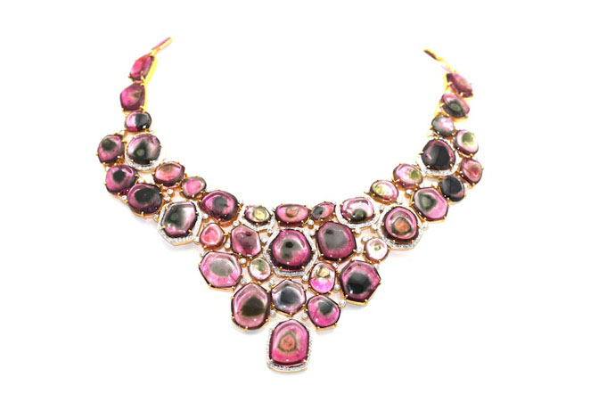 watermelong tourmaline and 18k gold bib necklace from Tresor Collection