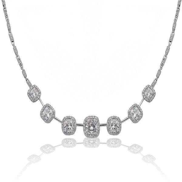 Cushion-cut diamond necklace in 18k white gold from Superior Diamond Cuttters in New York City