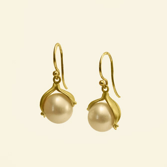 Carla Caruso Double Leaf pearl earrings in 14k gold