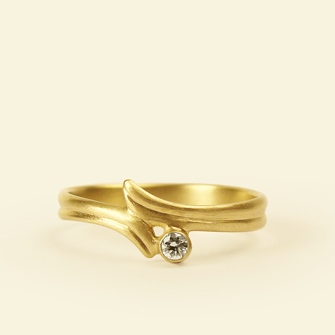 Carla Caruso Crossed Leaf engagement ring in 14k gold