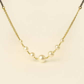 Carla Caruso Graduated pearl necklace in 14k gold