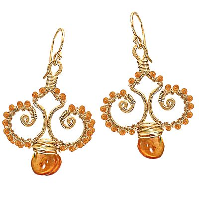 Calico Juno gold filll earrings with mandarin garnets
