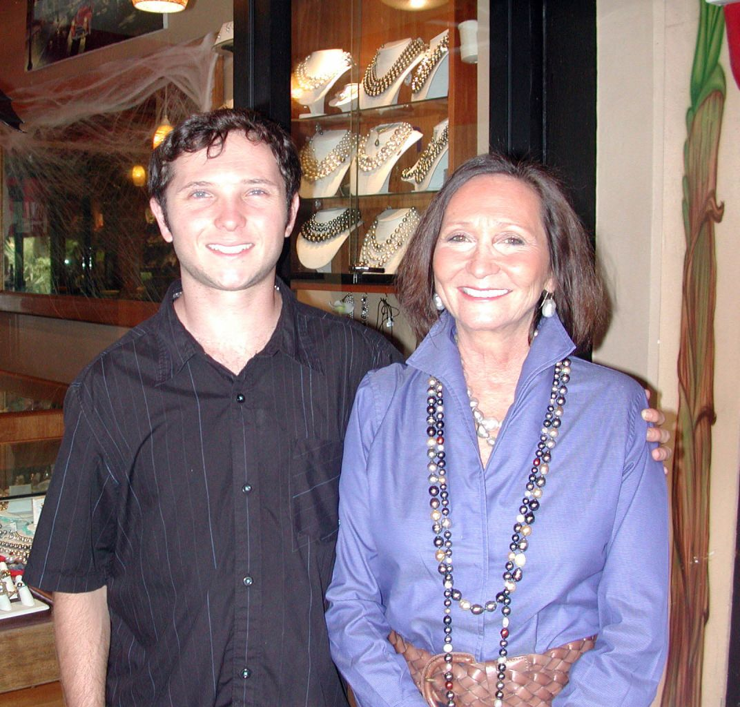 Chris Brehaut, owner of the Pearl Gallery, and her son Dylan