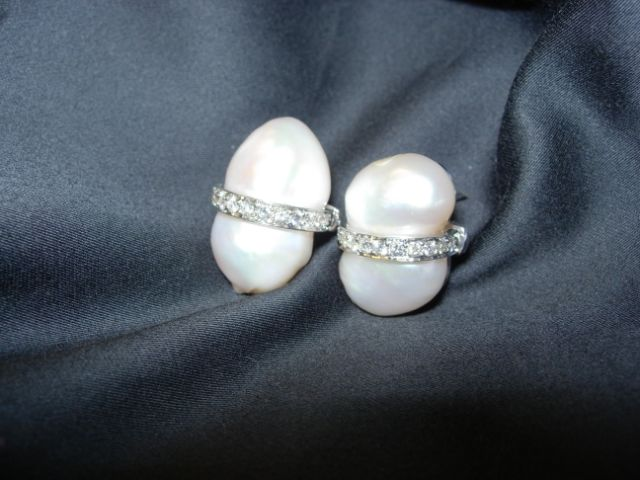 white gold earrings featuring South Sea baroque pearls and pearl accents