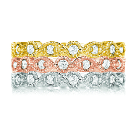 Diamond stack bands in tri-colored 14k gold from Leo Ingwer