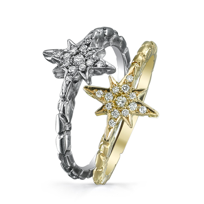 Hellmuth gold and diamond rings
