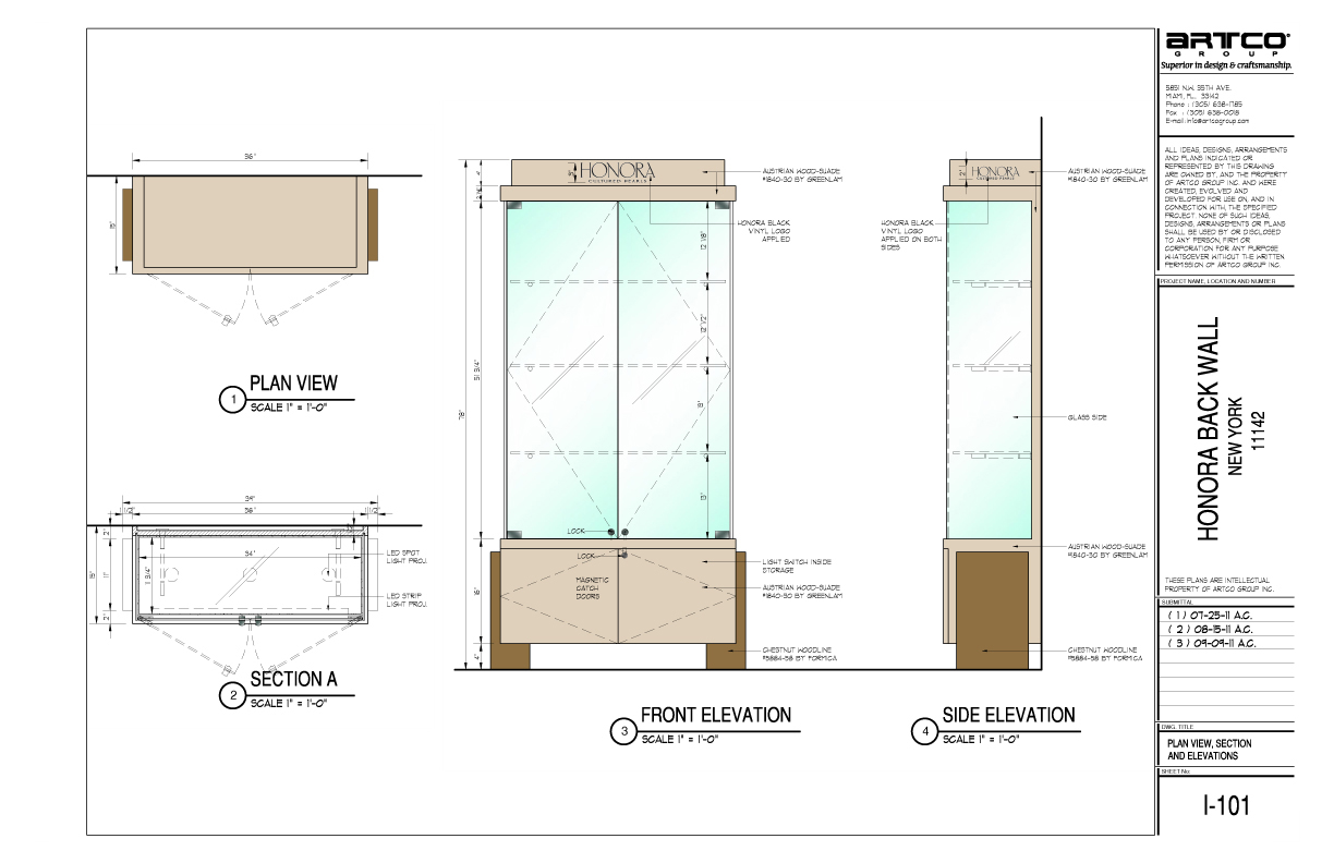 A drawing of the Honora vertical wall unit