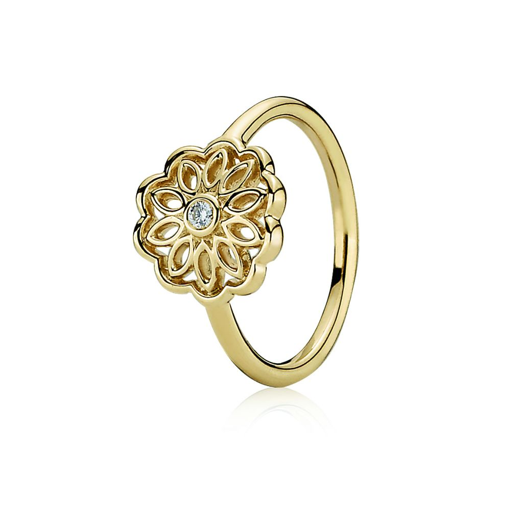 Pandora gold and diamond ring
