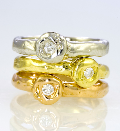 Erica Courtney gold and diamond rings