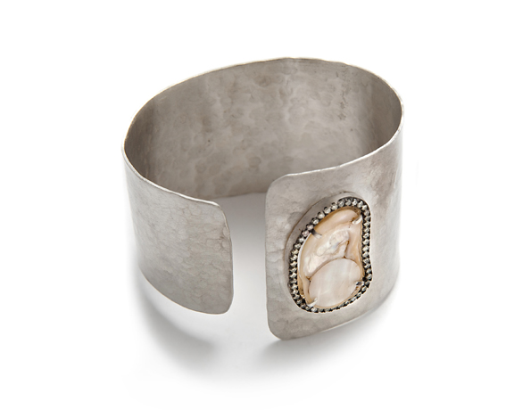 Sliced pearl cuff in silver from Theresa Bruno of Jordan Alexander