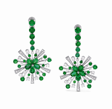 Bulgari diamond and emerald earrings worn by Emily Deschanel at at  2012 Golden Globes