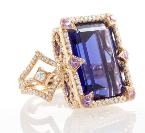 Erica Courtney tanzanite, gold, and diamond ring