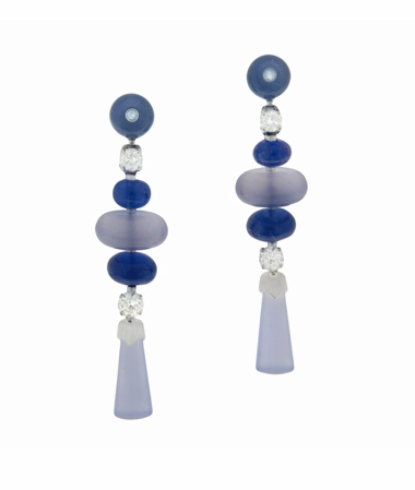 Bulgari diamond and sapphire earrings worn by Sarah Michelle  Gellar at at 2012 Golden Globes