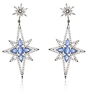 Sutra diamond and sapphire earrings worn by Laura Linney at 2012  Golden Globes
