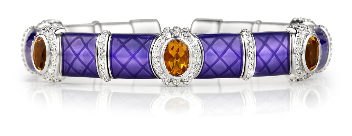 Henderson Collection silver, enamel, diamond, and citrine bracelet
