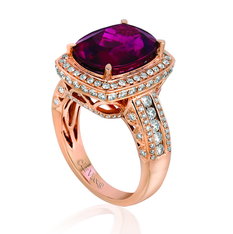 Le Vian rubellite, diamond, and gold ring