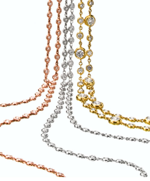 Lisa Nik diamond and gold station necklaces