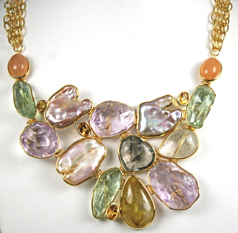 Freshwater pearl and gemstone necklace from Tara's Garden of Gems collection