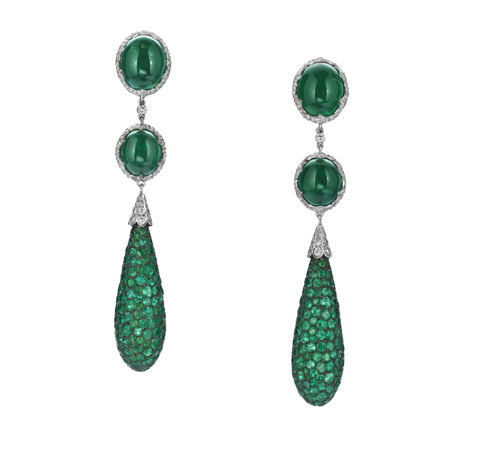 Emerald and platinum earrings from Ashok Sancheti