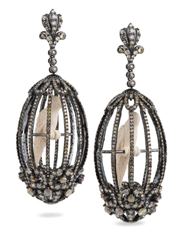 Bochic diamond, mammoth ivory, and 18k oxidized gold earrings