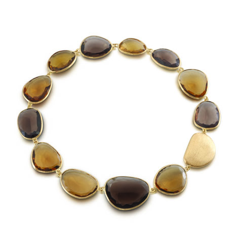 whiskey and smoky quartz necklace in 18k yellow gold by Yvel