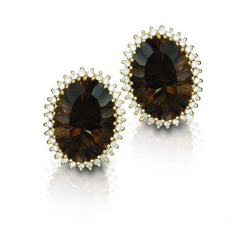 Smoky quartz, diamond, and 18k yellow gold earrings by Yvel