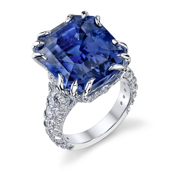 Omi Gems' sapphire and diamond ring