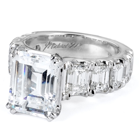 Michael M emerald-cut diamond engagement ring