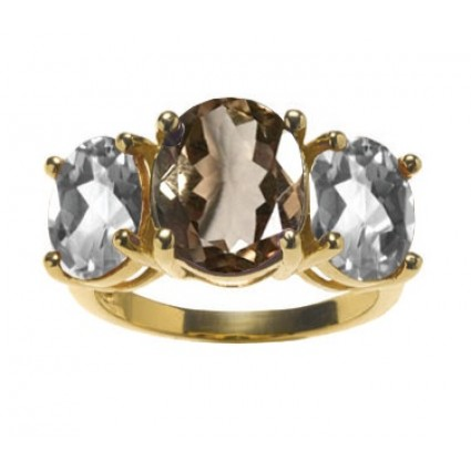 Smoky and white quartz ring in 14k gold vermeil by Asha by ADM