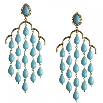 Turquoise 14k gold vermeil chandelier earrings by Asha by ADM