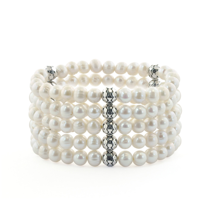 Honora stretch bracelet in silver with freshwater pearls