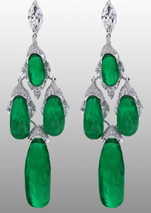 Jacob & Co. one-of-a-kind emerald and diamond earrings in 18k gold
