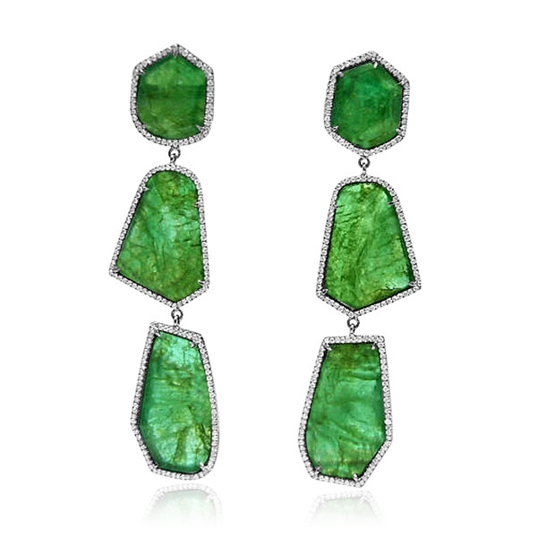 Royal India emerald slice earrings