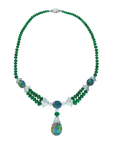 Oscar Heyman opal and emerald necklace