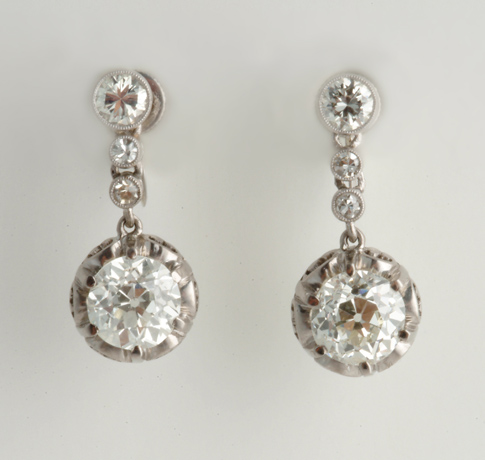 Neil Lane diamond and platinum earrings