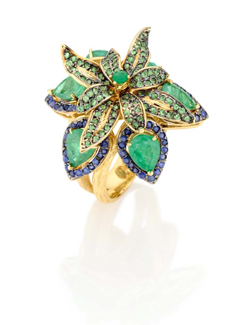 Goldesign emerald and sapphire ring
