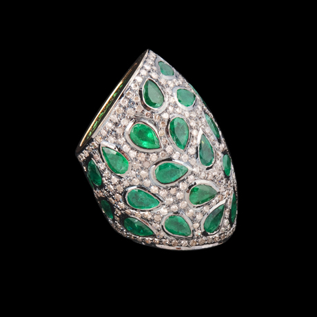 Loren Ridinger for Loren Jewels Champagne Diamond and Emerald Ring in 18k gold and silver
