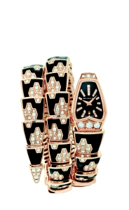 Bulgari Serpenti rose gold, diamond, and enamel bracelet watch